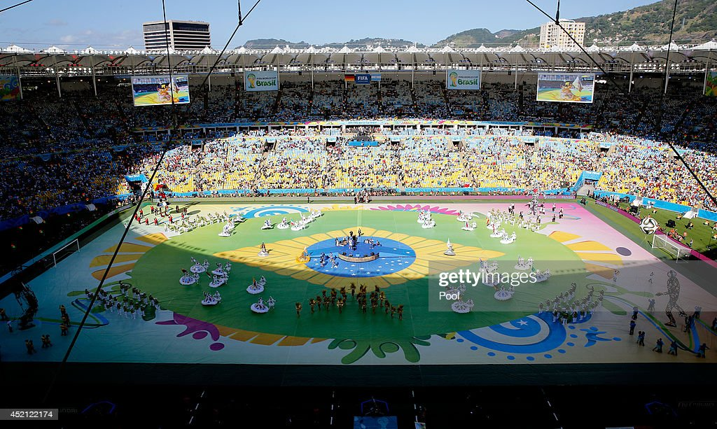 Dancers perform during the opening ceremony prior to 2014 FIFA World Cup Brazil Final match between Germany and Argentina at Maracana on July 13 2014...