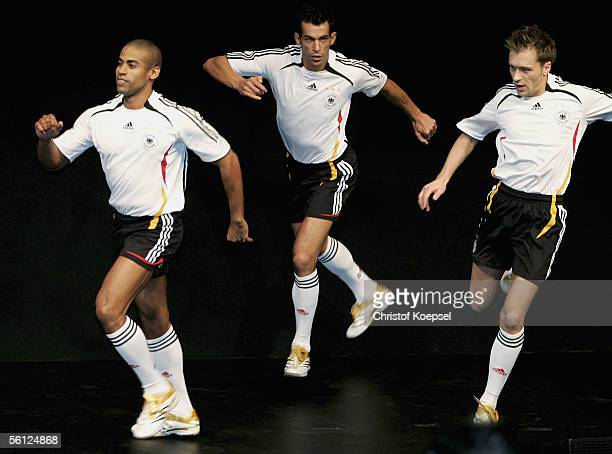 Dancers perform during the presentation of the FIFA World Cup 2006 Germany Jersey Presentation at the Cinedom Cologne on November 9 2005 in Cologne...