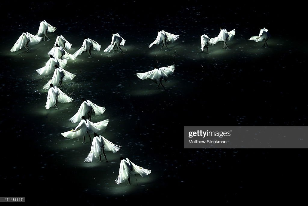 Dancers perform during the Pyeongchang 2018 presentation as part of the 2014 Sochi Winter Olympics Closing Ceremony at Fisht Olympic Stadium on February 23, 2014 in Sochi, Russia.