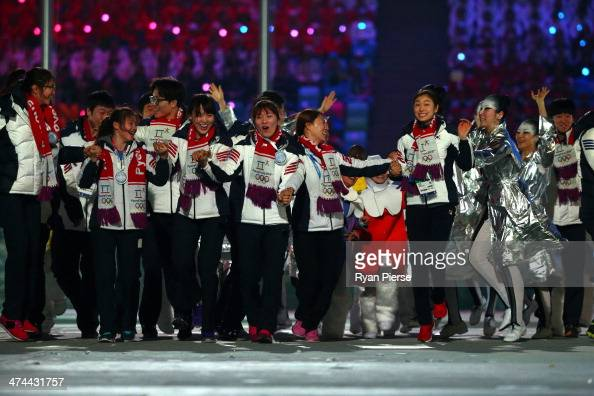 Dancers perform during the Pyeongchang 2018 presentation as part of the 2014 Sochi Winter Olympics Closing Ceremony at Fisht Olympic Stadium on...