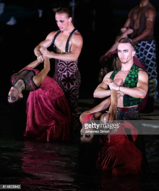 Dancers perform during the rehearsal of the opera 'Carmen' prior the Bregenz Festival on July 14 2017 in Bregenz Austria