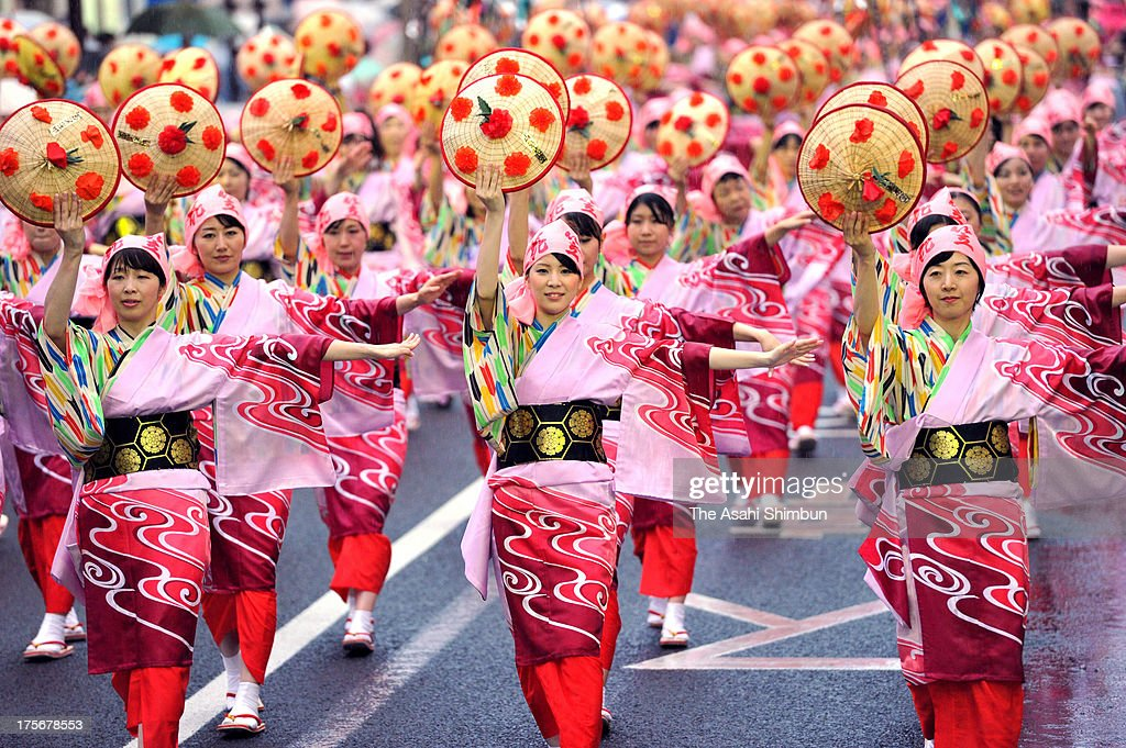 Dancers perform during the Yamagata Hanagasa Festival on August 5 2013 in Yamagata Japan The annual 3day festival attract 900000 people