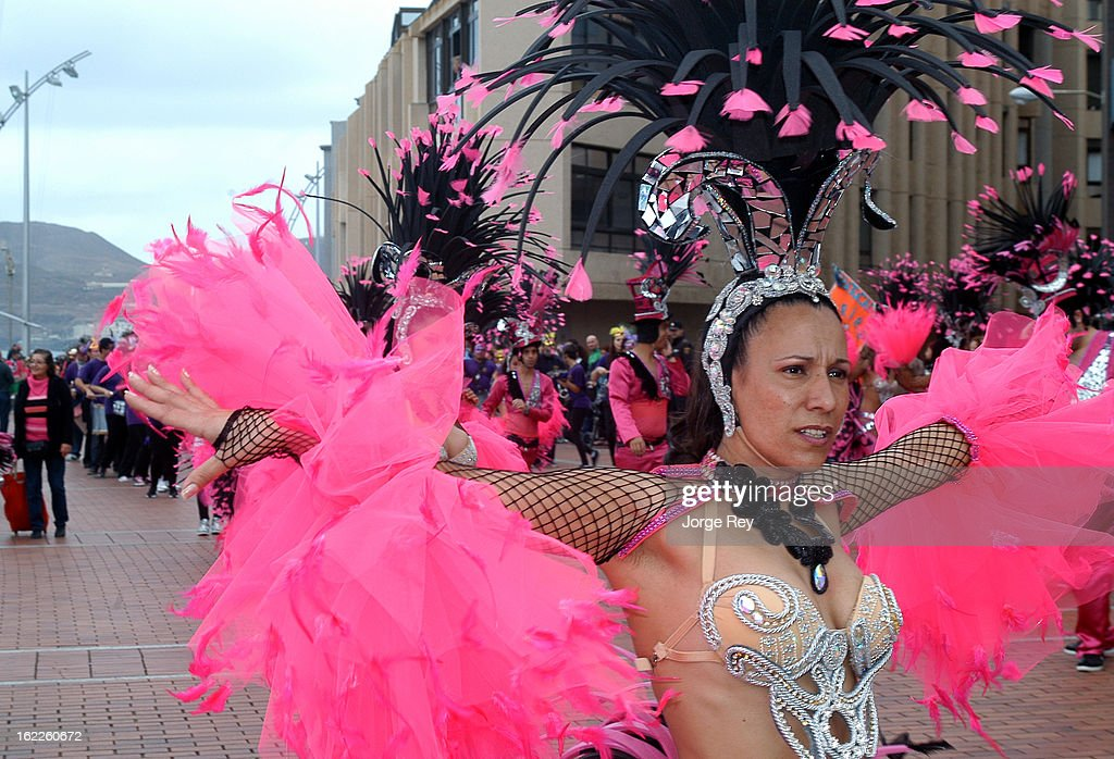 Dancers perform in the carnival festivities in Las Palmas on February 18, 2013 in Las Palmas de Gran Canaria, Spain.