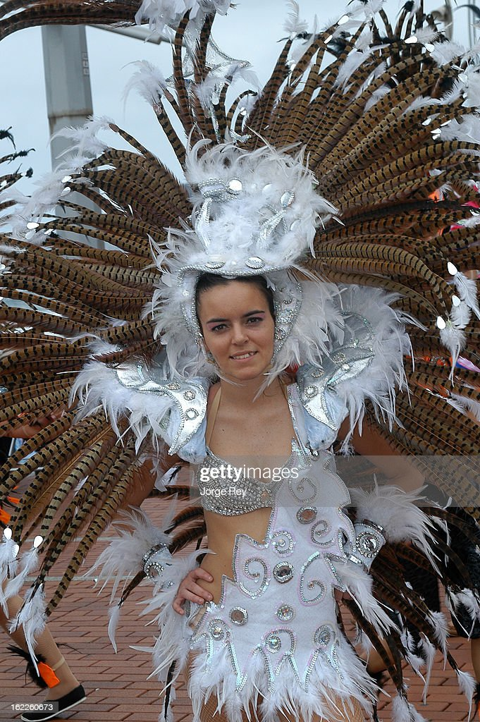Dancers perform in the carnival festivities in Las Palmas on February 18, 2013 in Las Palmas de Gran Canaria, Spain.