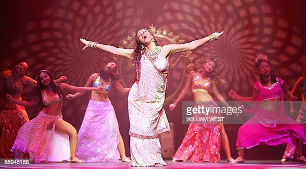 Dancers perform in the stage production of The Merchants of Bollywood in Melbourne 18 October 2005 as 30 actors singers and dancers direct from India...