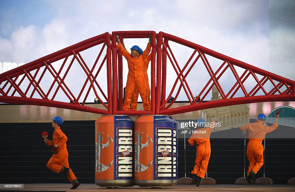 Dancers perform on a replica of the Forth Rail bridge during the Opening Ceremony for the Glasgow 2014 Commonwealth Games at Celtic Park on July 23, 2014 in Glasgow, Scotland.