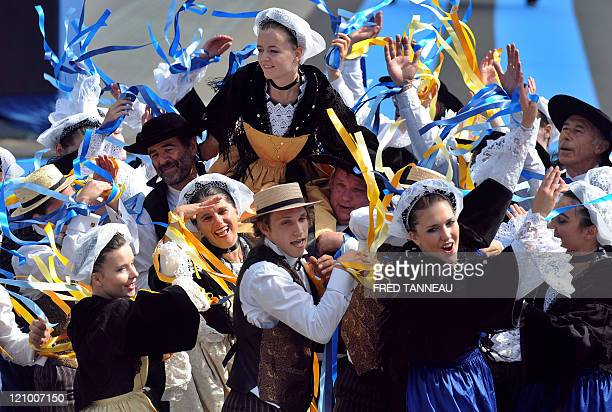 Dancers perform on August 7 2011 in Lorient during the celtics nations Great Parade of the 'festival interceltique de Lorient' It is the 41st edition...