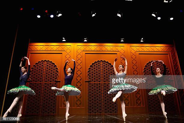 Dancers perform on stage during a dress rehearsal for The Ballet Gala with stars from Paris Opera at Madinat Jumeirah on January 7 2015 in Dubai...