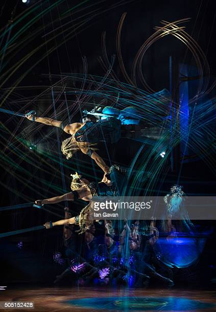 Dancers perform on stage during the dress rehearsal of 'Amaluna' by Cirque Du Soleil at the Royal Albert Hall on January 15 2016 in London England