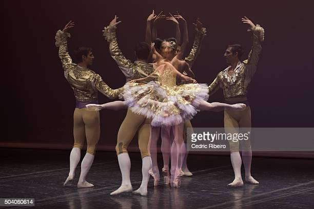 Dancers perform on stage during the Grand Gala of the Paris Opera National Ballet Renowned and talented Etoiles and Soloists perform a selection of...