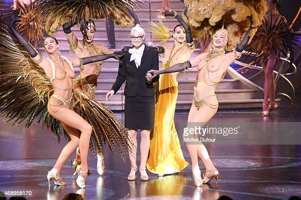 Dancers perform on stage during the Paris Merveilles' Lido New Revue The Show At Opening Gala In Paris at Le Lido on April 8 2015 in Paris France
