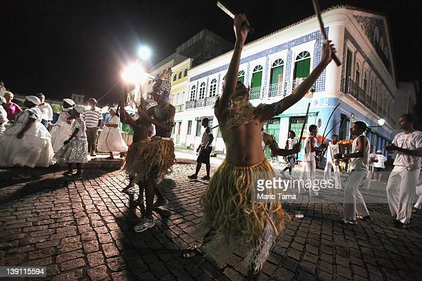 Dancers perform on the first day of Carnival celebrations on February 16 2012 in Salvador Brazil Carnival is the grandest holiday in Brazil annually...
