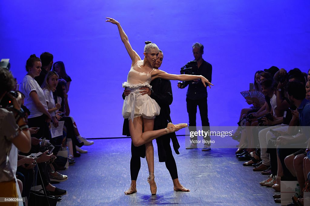 Dancers perform on the runway ahead of the I'Vr Isabel Vollrath show during the Mercedes-Benz Fashion Week Berlin Spring/Summer 2017 at Stage at me Collectors Room on June 29, 2016 in Berlin, Germany.