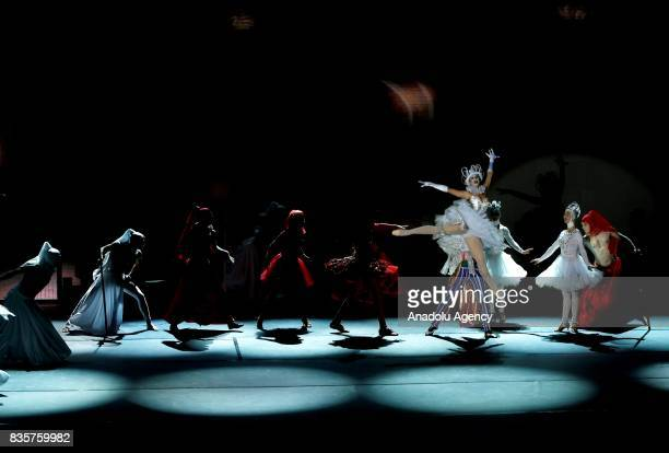 Dancers perform on the stage during Lewis Carrol's 'Alice in wonderland' performance of Ukraine's Elysium Circus Theatre within 86th Izmir...