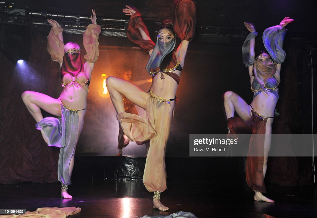 Dancers perform the ABSOLUT Elyx Dance of the Silk Veils during the ABSOLUT Elyx launch party at The Box Soho on March 26, 2013 in London, England.
