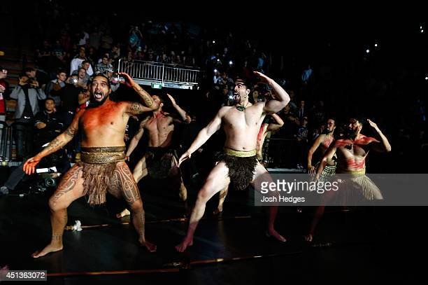 Dancers perform the Haka as James Te Huna enters the arena before his middleweight fight against Nate Marquardt during the UFC Fight Night event at...