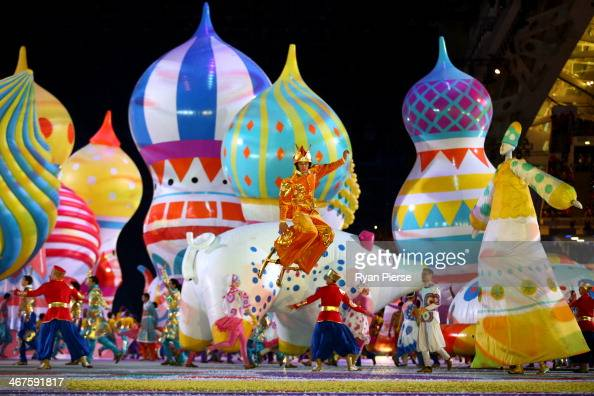 Dancers perform with inflated objects during the Opening Ceremony of the Sochi 2014 Winter Olympics at Fisht Olympic Stadium on February 7 2014 in...