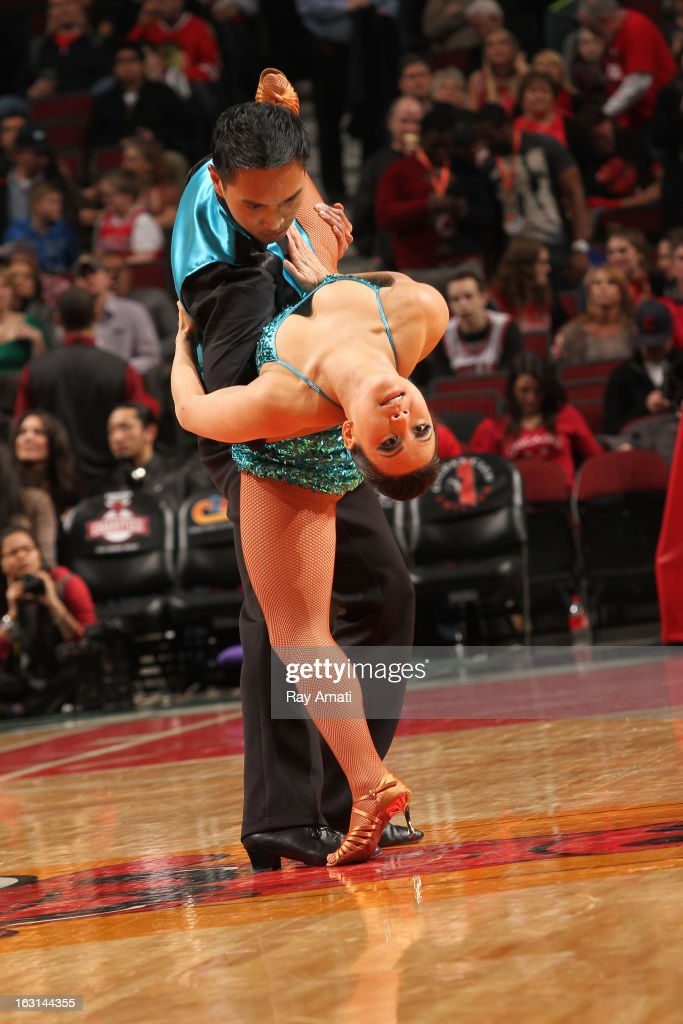 Dancers performs before the game where the Chicago Bulls played against the Brooklyn Nets on March 2, 2013 at the United Center in Chicago, Illinois.