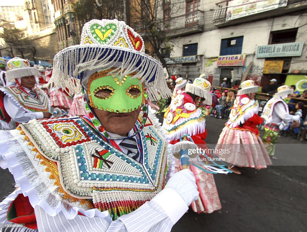 Dancers performs 'La Kullawada', a traditional dance of Bolivia during the religious festival of Jesus del Gran Poder on June 15, 2014 in La Paz, Bolivia. About thirty thousand people attended the event, which is a traditional folk celebration in the country.