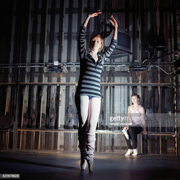Dancers practicing backstage