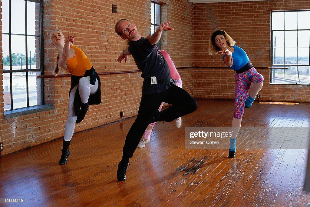 PERBE025 Dancers practicing steps in studio : Stock Photo