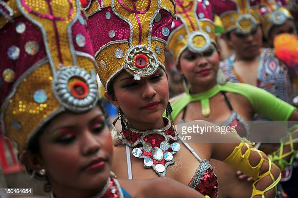 Dancers prepare for the Carnival for Life part of the city patron festivities in Granada 45 kms from Managua on August 18 2012 AFP PHOTO / Hector...