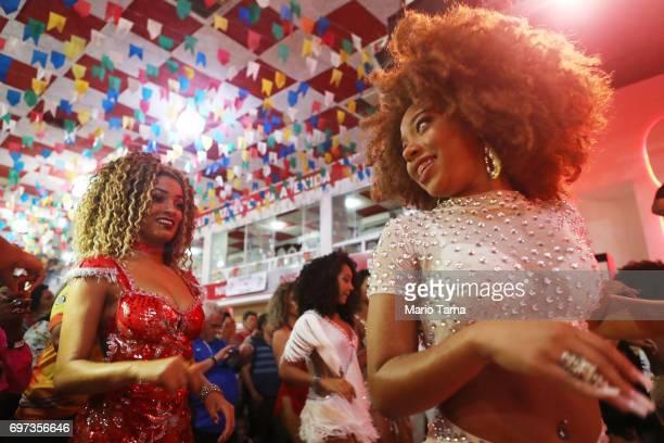 Dancers prepare to perform during a traditional Festas Juninas party at the Salgueiro samba school on June 17 2017 in Rio de Janeiro Brazil Rio Mayor...