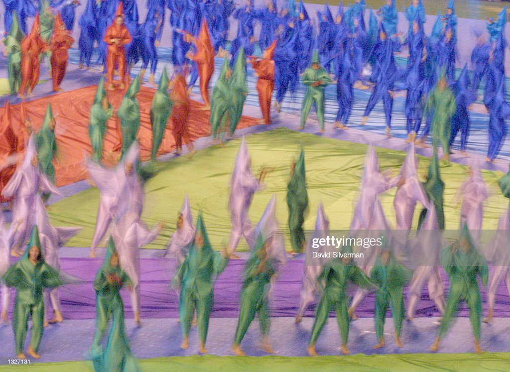 Dancers present a kaleidascope of colors during the opening ceremony of the 16th Maccabi Games July 16, 2001 in Jerusalem. Thousands of participants from all over the world and even more spectators passed security measures to attend the opening of the 'Jewish Olympics' which takes place under the threat of Palestinian violence.