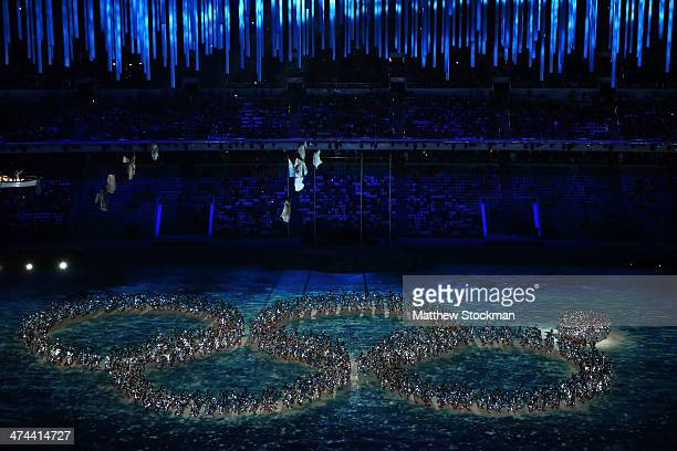 Dancers reenact the Opening Ceremony ring failure during the 2014 Sochi Winter Olympics Closing Ceremony at Fisht Olympic Stadium on February 23 2014...