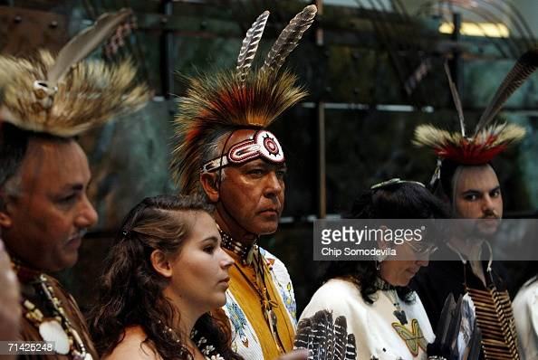 Dancers representing the Chickahominy Mattaponi Monican Nansemond Pamunkey Rappahoannock and Upper Mattapoini Indians prepare to dance during a...