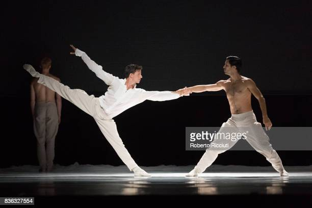 Dancers Roger Van der Poel and Ceasar Faria Fernandes of Netherland Dans Theatre perform on stage 'StopMotion' by choreographers Sol Leon and Paul...