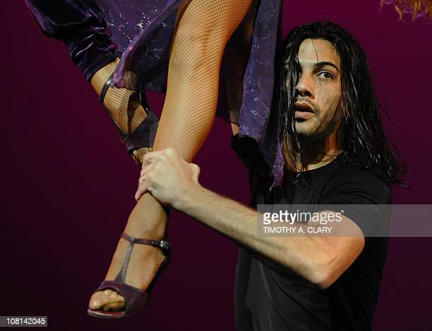 Dancers Sebastian Alvarez and Victoria Saudelli with Tango Inferno perform a tango called 'Libertango ' during the dress rehearsal before opening...
