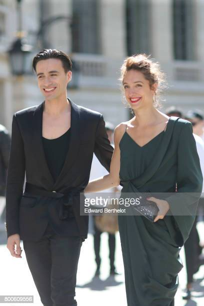 Dancers Sebastien Bertaud and Dorothee Gilbert attend the Balmain Menswear Spring/Summer 2018 show as part of Paris Fashion Week on June 24 2017 in...