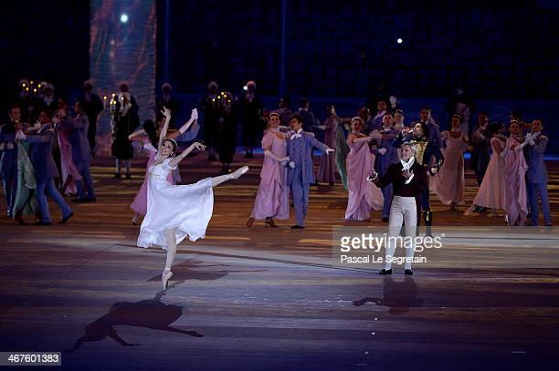 Dancers Svetlana Zakharova and Vladimir Vasilyev perform during the Opening Ceremony of the Sochi 2014 Winter Olympics at Fisht Olympic Stadium on...