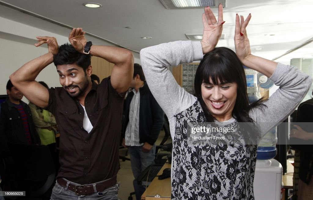 Dancers turned actors Lauren Gottlieb and Salman perform some steps during promotion of their upcoming movie at ABCD HT House on February 6, 2013 in New Delhi, India. Anybody Can Dance is an upcoming Bollywood dance film and the first of its kind in India to release in 3D film. It is also releasing in Tamil titled as Aadalam Boys Chinnatha Dance.