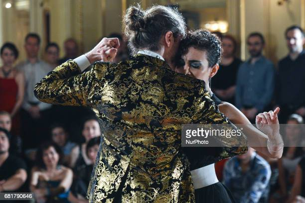 Dancers Tymoteusz Ley and Sabrina Concari perfom Argentine tango during an evening milonga event in Juliusz Slowacki Theatre an event that was a part...