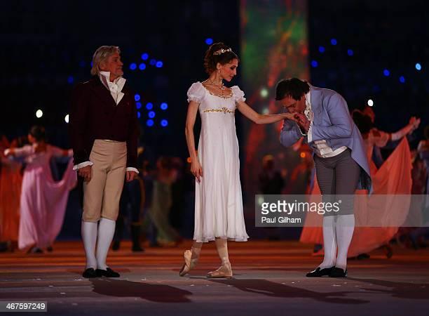 Dancers Vladimir Vasilyev Svetlana Zakharova and Alexander Petukhov perform during the Opening Ceremony of the Sochi 2014 Winter Olympics at Fisht...