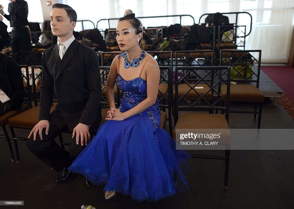 Dancers wait to compete during the 2013 Manhattan Amateur Classic on January 18, 2013 at the Chelsea Piers in New York. The amateur ballroom dance competition is sponsored by USA Dance and the Greater New York Chapter of USA Dance. AFP PHOTO / TIMOTHY A. CLARY
