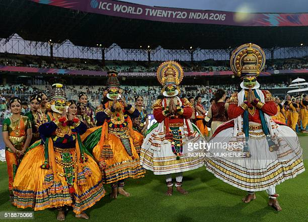 Dancers wait to perform after the World T20 cricket tournament women's final match between Australia and West Indies at The Eden Gardens Cricket...