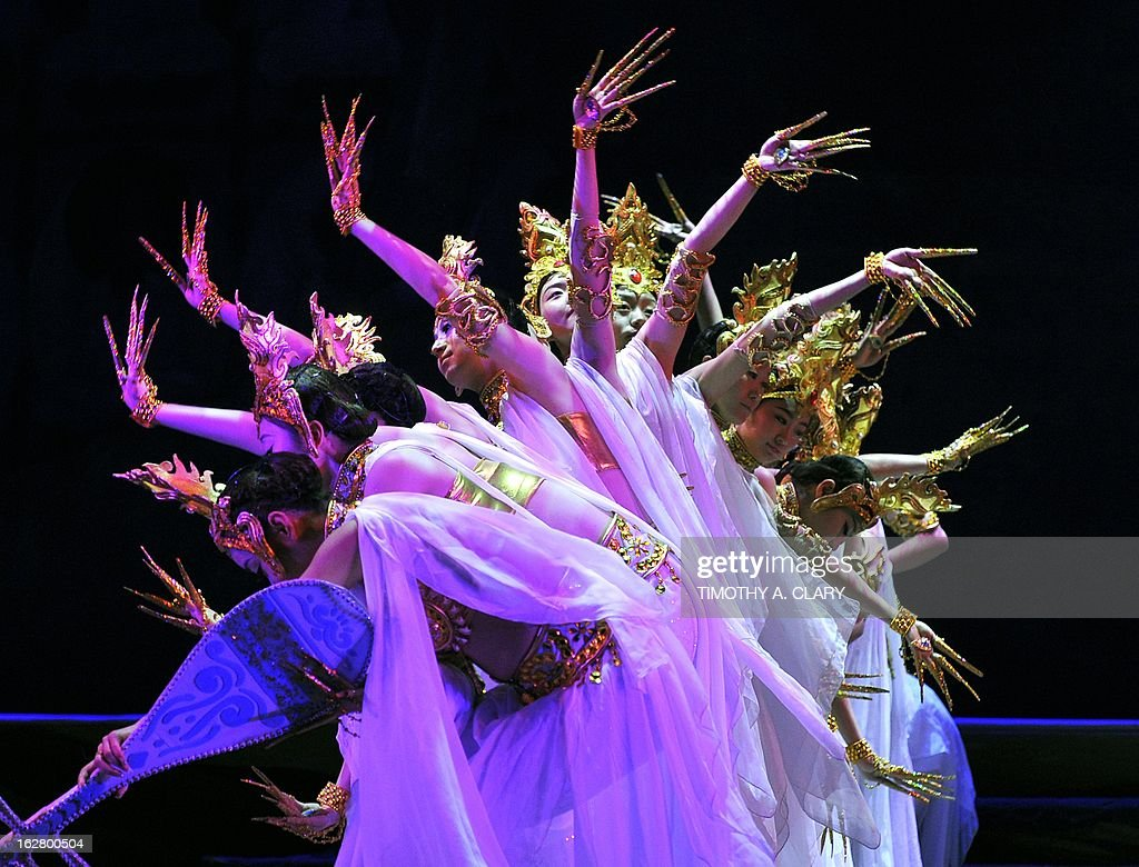 Dancers with the Gansu Dance Theatre performs a scene from 'Silk Road' at the dress rehearsal before opening night of their New York premiere at the David H. Koch Theater at Lincoln Center February 27, 2013. The production is presented by The China Arts & Entertainment Group (CAEG), a creative enterprise under the administration of the Ministry of Culture for the People's Republic of China. The show runs until March 3.