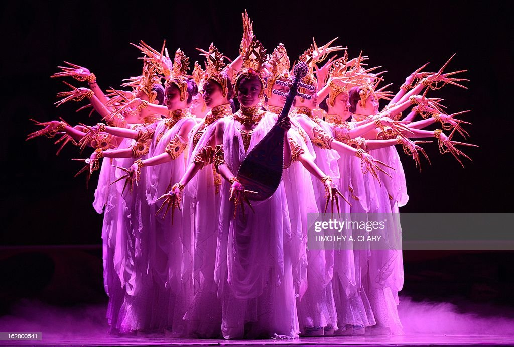 Dancers with the Gansu Dance Theatre performs a scene from 'Silk Road' at the dress rehearsal before opening night of their New York premiere at the David H. Koch Theater at Lincoln Center February 27, 2013. The production is presented by The China Arts & Entertainment Group (CAEG), a creative enterprise under the administration of the Ministry of Culture for the People's Republic of China. The show runs until March 3. AFP PHOTO / TIMOTHY A. CLARY