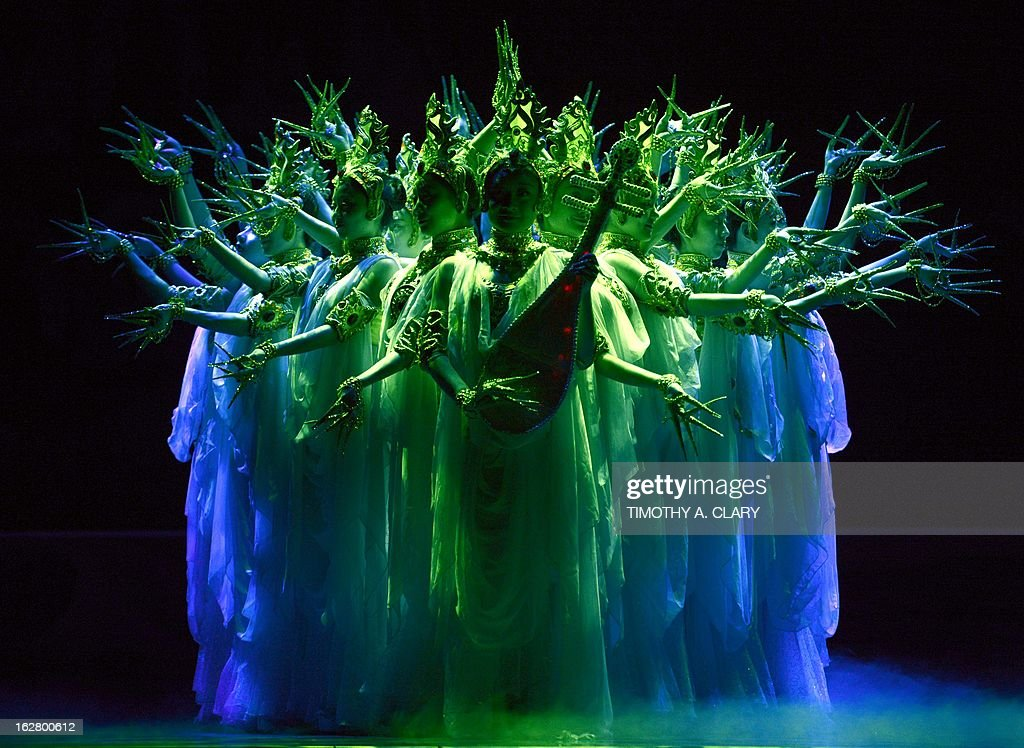Dancers with the Gansu Dance Theatre performs a scene from 'Silk Road' at the dress rehearsal before opening night of their New York premiere at the David H. Koch Theater at Lincoln Center on February 27, 2013. The production is presented by The China Arts & Entertainment Group (CAEG), a creative enterprise under the administration of the Ministry of Culture for the People's Republic of China. The show runs until March 3.