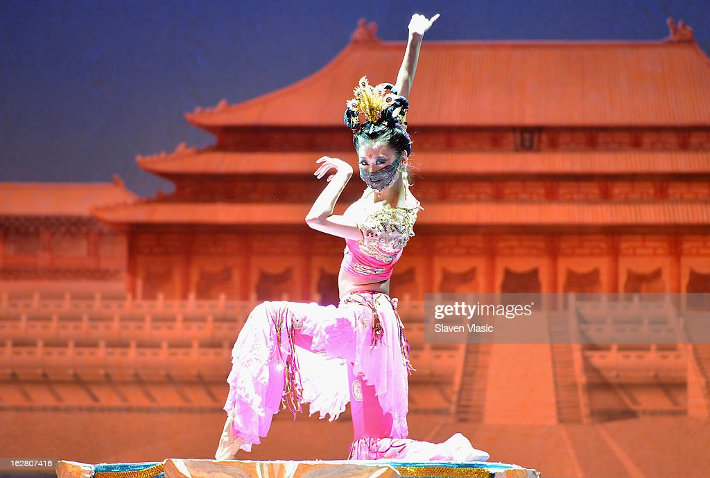 Dancers with the Gansu Dance Theatre performs a scene from 'Silk Road' at the dress rehearsal before opening night of their New York premiere at the David H. Koch Theater, Lincoln Center on February 27, 2013 in New York City.