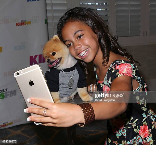 Dancer/TV personality Asia Monet Ray takes a selfie with Jiff the Dog at the 1027 KIIS FM's Annual Teen Choice PreParty at W Los Angeles Westwood on...