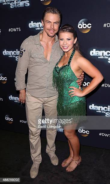 Dancer/TV personality Derek Hough and actress/ wildlife conservationist Bindi Irwin attend ABC's 'Dancing with the Stars' photo op at CBS Studios on...