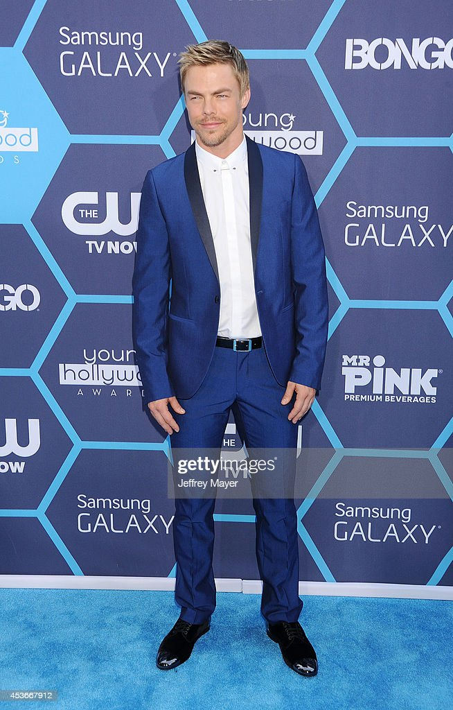 Dancer/TV personality <a gi-track='captionPersonalityLinkClicked' href=/galleries/search?phrase=Derek+Hough&family=editorial&specificpeople=4532214 ng-click='$event.stopPropagation()'>Derek Hough</a> arrives at the 16th Annual Young Hollywood Awards at The Wiltern on July 27, 2014 in Los Angeles, California.