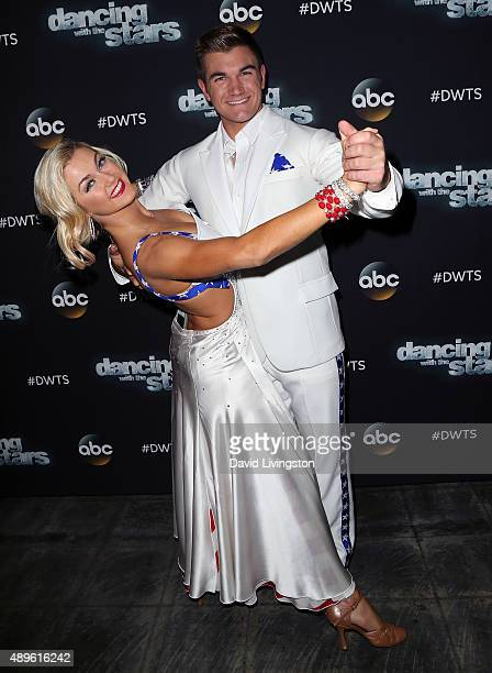 Dancer/TV personality Lindsay Arnold and Army National Guard Specialist Alek Skarlatos attend 'Dancing with the Stars' Season 21 at CBS Television...