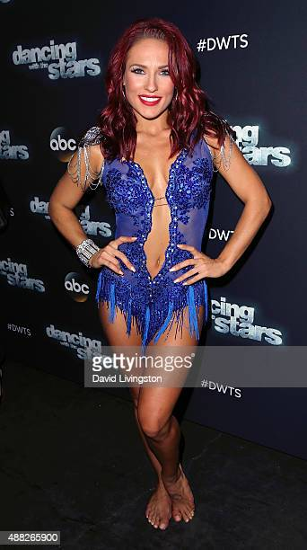 Dancer/TV personality Sharna Burgess attends ABC's 'Dancing with the Stars' photo op at CBS Studios on September 14 2015 in Los Angeles California