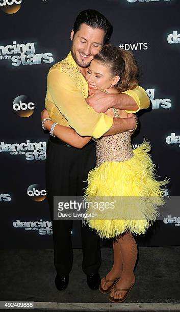 Dancer/TV personality Valentin Chmerkovskiy and actress/ wildlife conservationist Bindi Irwin attend 'Dancing with the Stars' Season 21 at CBS...