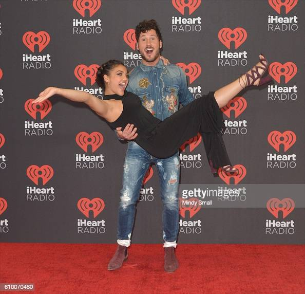 Dancer/TV personality Valentin Chmerkovskiy and Olympic gymnast Laurie Hernandez attend the 2016 iHeartRadio Music Festival at TMobile Arena on...